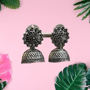 Ethnic silver colored oxidized Metal Earrings